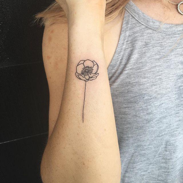 Minimalist Line Flower Tattoo: Dear Emily Ann Tattoos. Sweet Minimalist Poppy