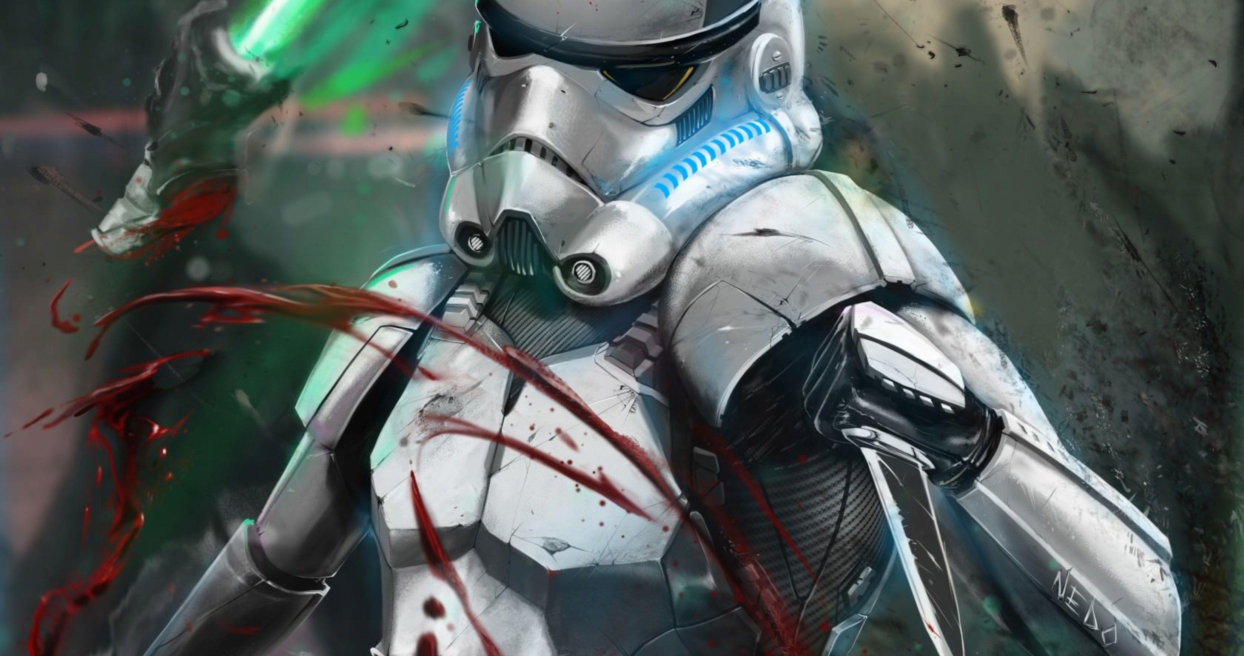 Storm Trooper Attacking 4k Ultra Hd Wallpaper Ololoshenka