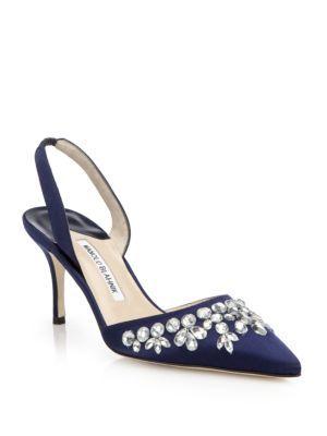 Manolo Blahnik Satin Carolyne Pumps outlet fashion Style EJKENy