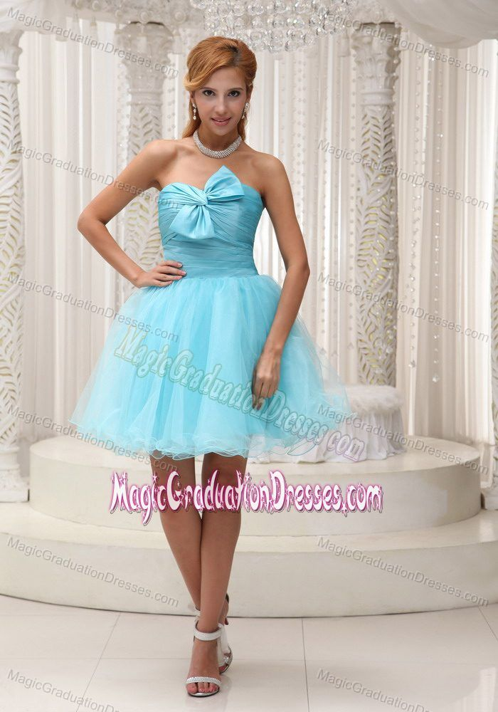 Aqua Blue A-line Ruched Mini-length 5th Grade Graduation Dress in ...