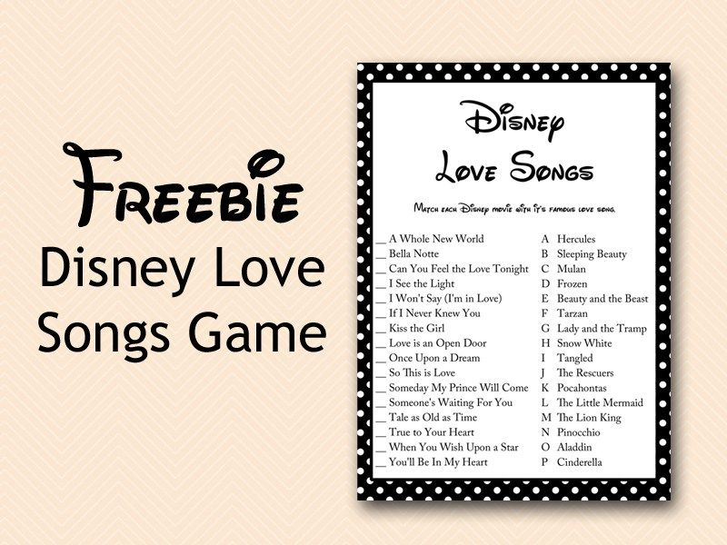 Free Disney Love Song Game Bridal Shower Black