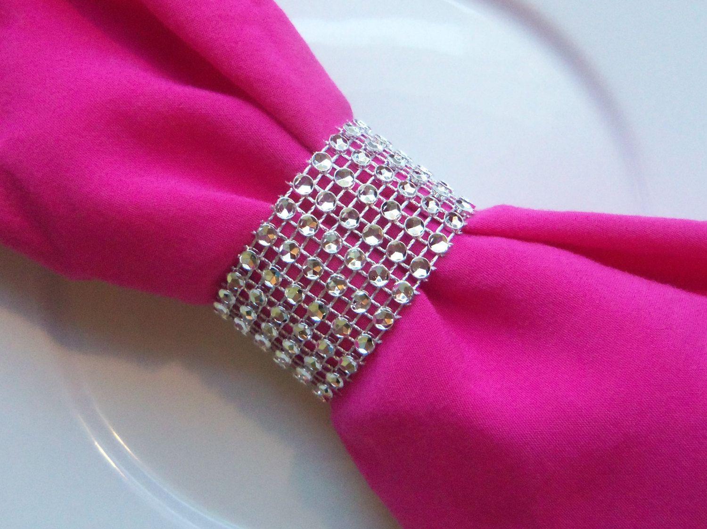 Wedding Silver Rhinestone Bling Wedding Napkin Rings or Chair Sash ...