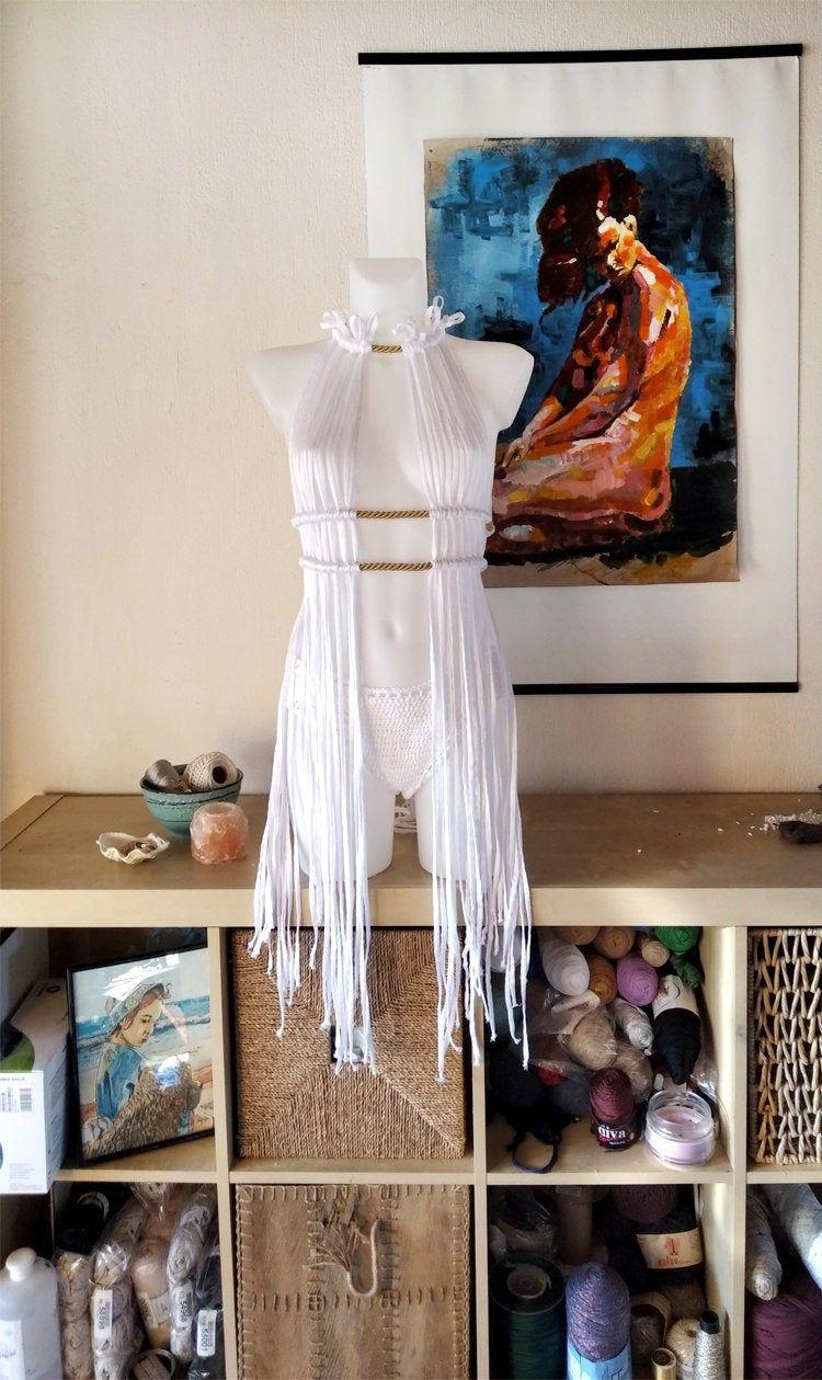 Festival clothing women, Coachella outfit, Festival clothing dress, festival dress, rave outfit, burning man clothing, White macrame dress