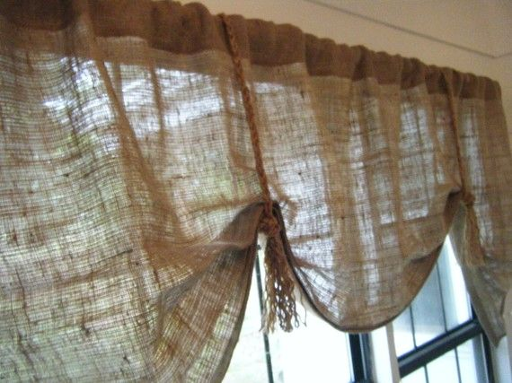 Burlap Window Valance 42 W 108 W X 25l The Hemingway In Burlap With Fringed Jute Ties By Jackie Dix Burlap Valance Kitchen Window Valances Burlap Curtains