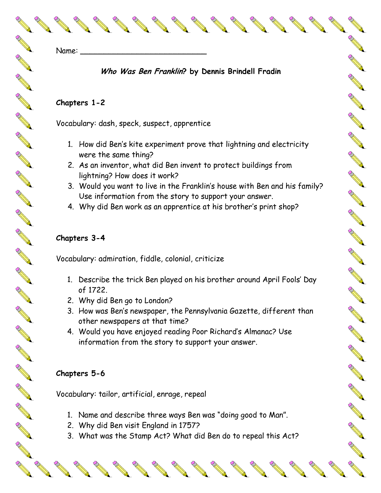 Ben Franklin And His First Kite Worksheets