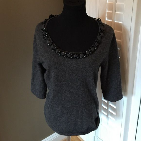 Neiman marcus 100% cashmere sweater with chain l | Cashmere ...