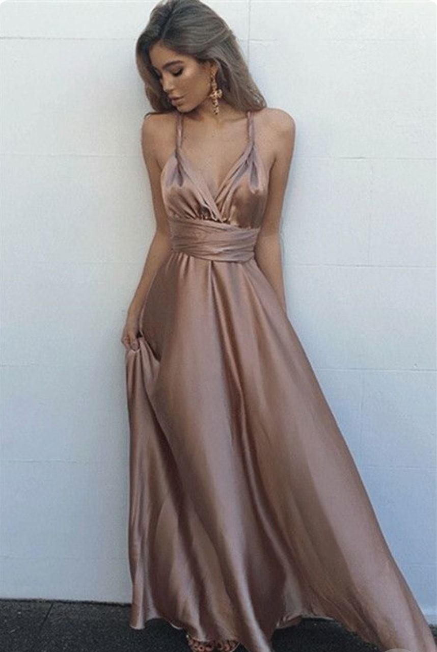 f76b987566 Simple V-Neck Sleeveless Floor Length Prom Dress from Hot Lady in ...