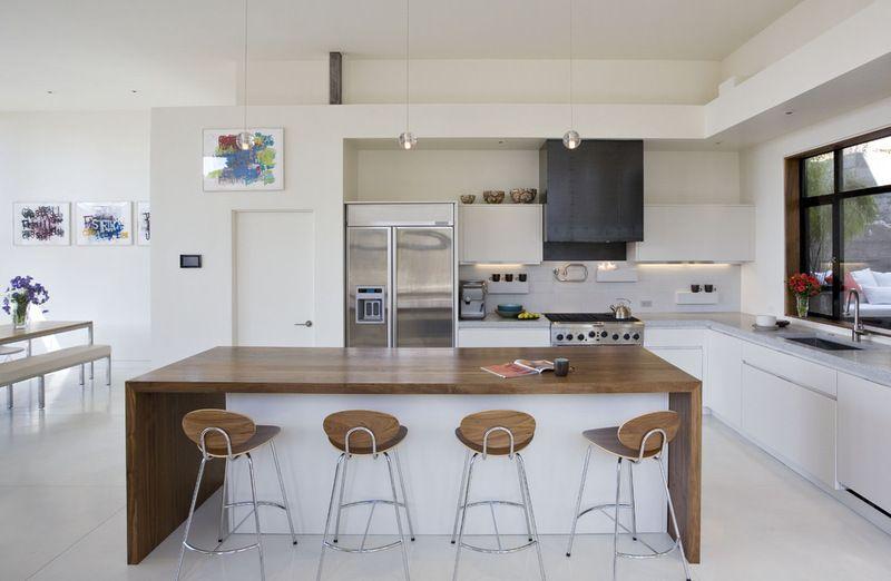 Waterfall Wooden Countertop Contemporary Kitchen Houzz Modern Kitchen Island Design Kitchen Design Open White Modern Kitchen