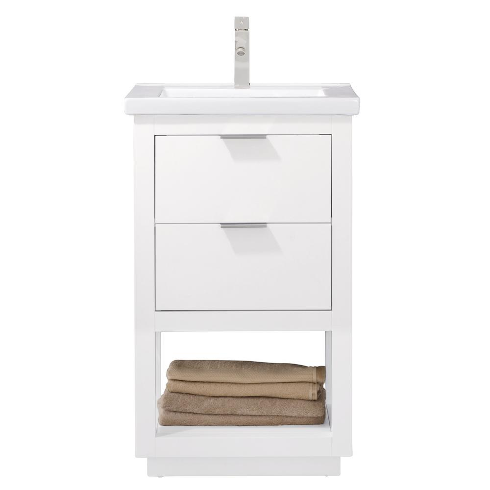 Design Element Klein 20 In W X 15 In D Bath Vanity In White With Porcelain Vanity Top In White With White Basin S04 20 Wt Single Sink Vanity Vanity Sink Single Sink