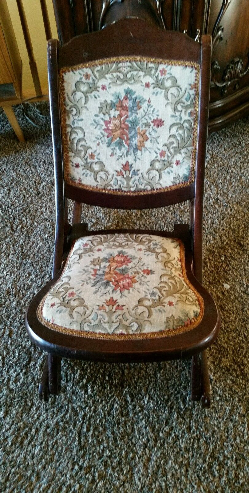 Vintage American Wooden Folding Rocking Sewing Chair