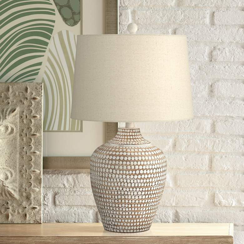 Alese Neutral Earth Polka Dot Jug Table Lamp 18y64