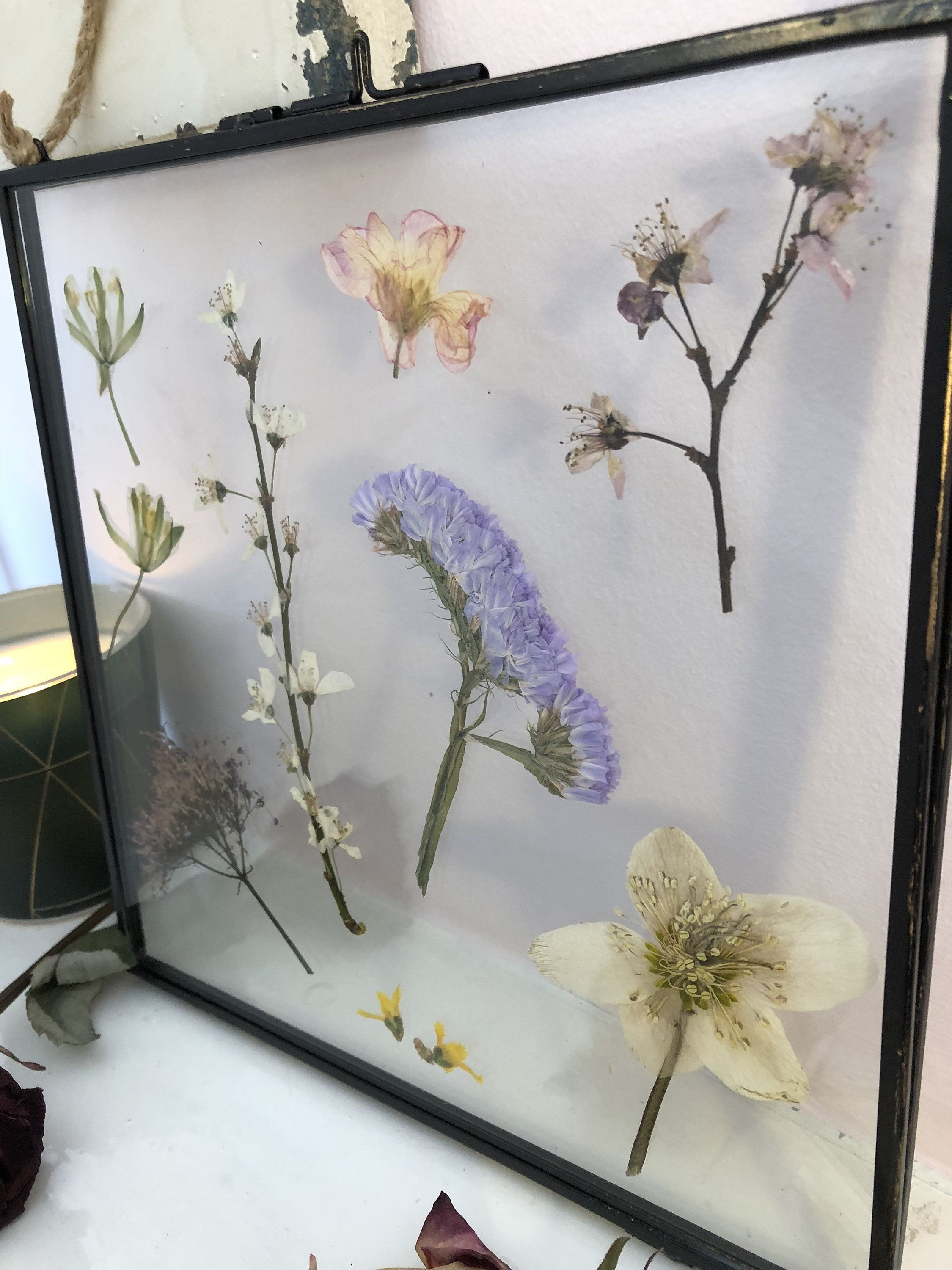 Decorative Pressed Flowers In Vintage Glass And Metal Frame Etsy Pressed Flowers Floral Gifts Hanging Frames