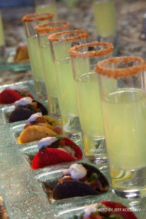 Bite Size tacos and shot glass Margs