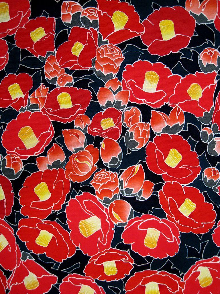 友禅 椿 Camelia fabric designed and printed using the yuzen process by Noritaka Tatehana