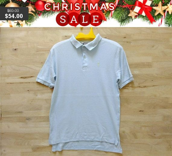 6e4c83c09f5 Christmas Sale Vintage 80s Yves Saint Laurent YSL Thin Fabric Size M rare  polo Menswear shirt Made In USA by ArenaVintage