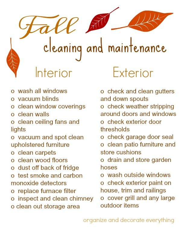 Fall Cleaning and Maintenance Schedule and Printable Checklist