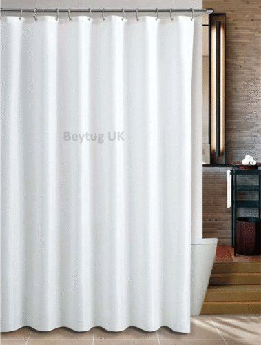 Extra Long Plain White Fabric Shower Curtain Wide 180cm Long