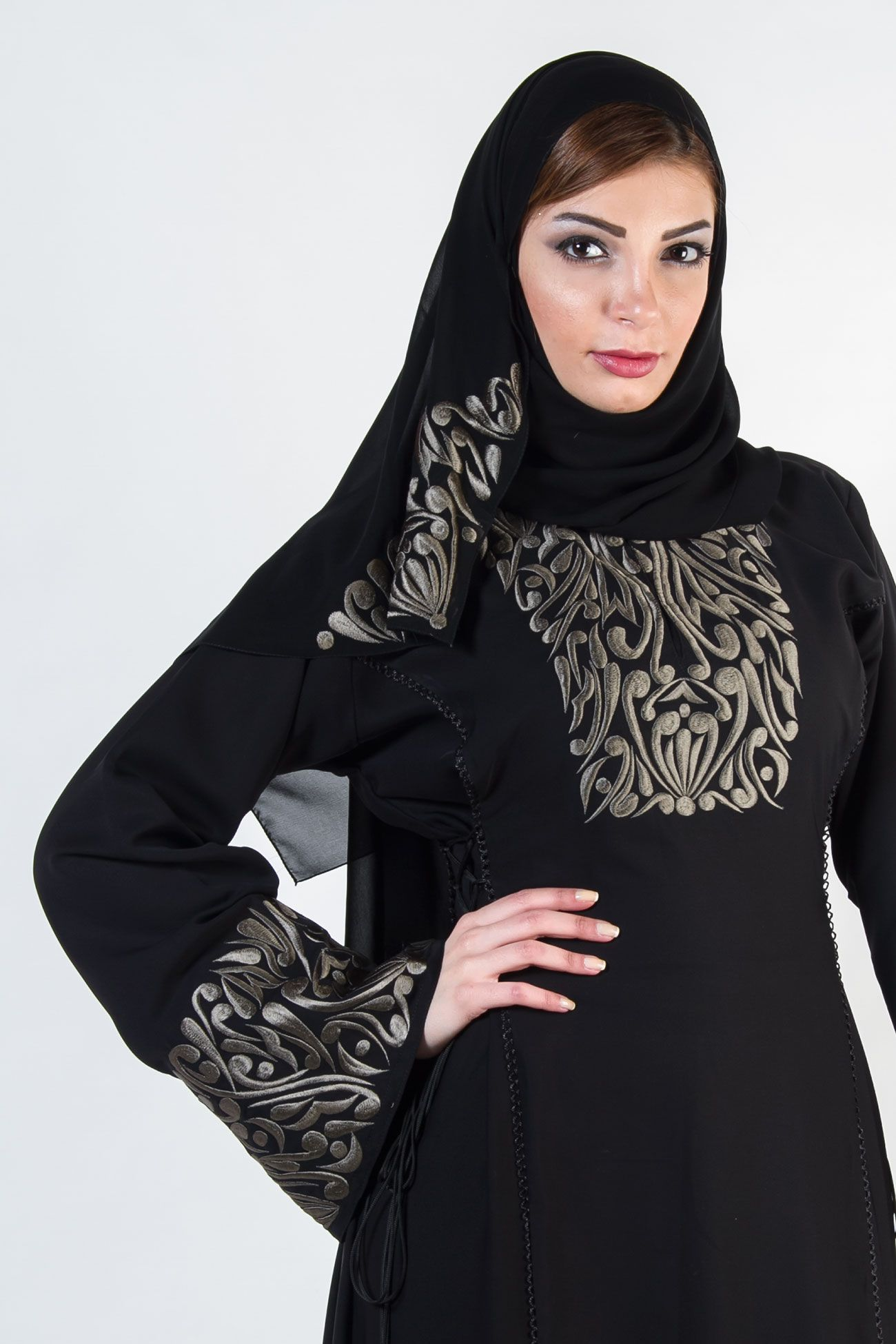 c1392fab7336a Beautiful rich quad embroidered abaya from o3bay in classic black  fabric.This abaya has detailed embroidery work on the front and sleeves.