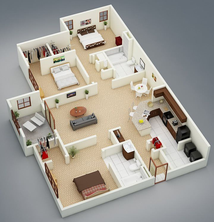 3 Room Apartment: Our Largest Floor Plan, The Aspen With Sunroom Is A 3BR 2B