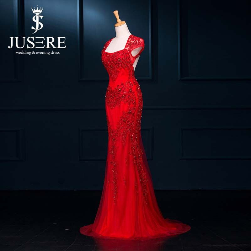 vestido de festa Chinese Design Cap Sleeves Open Back Embroidered Lace With Beads Red Evening Dresses 2015 from Reliable lace corset dress black suppliers on Jueshe Wedding & Evening Dress Factory  | Alibaba Group