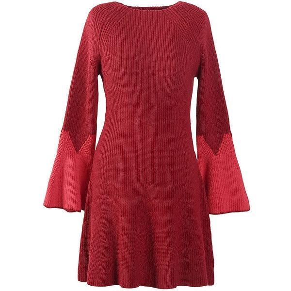 Long-Sleeve Ruffled Dress (185 BRL) ❤ liked on Polyvore featuring dresses, red sleeve dress, frill sleeve dress, frill dress, red ruffle dress and long-sleeve maxi dresses