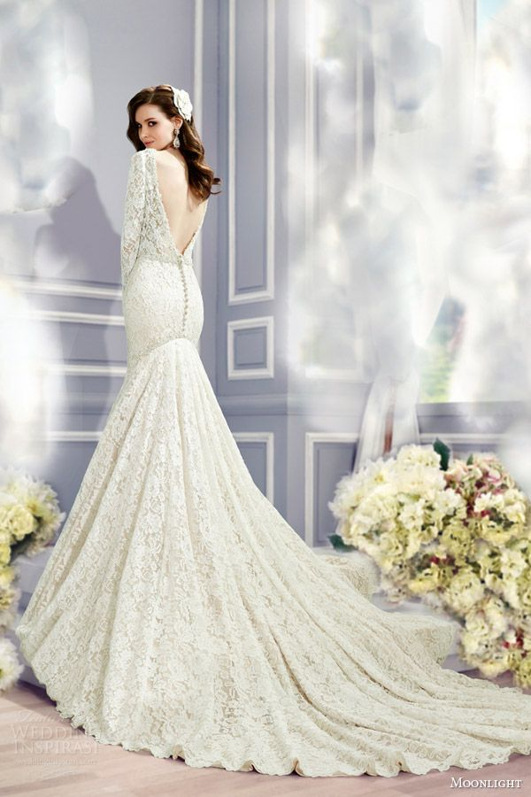 Long sleeve lace wedding gown from Moonlight Bridal with dramatic ...