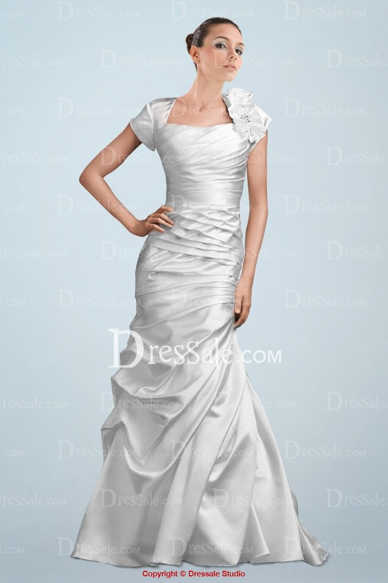 Solemn square neckline short sleeve bridal gown featuring pleats and