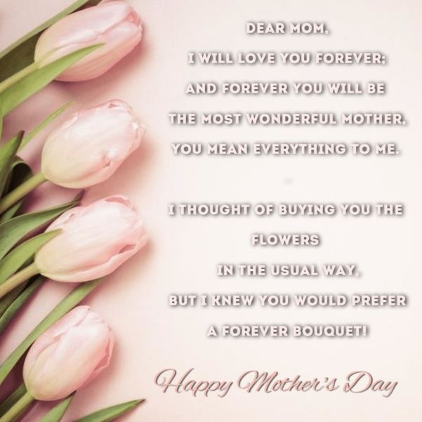 Dear Mom I Love You Mothers Day Poetry