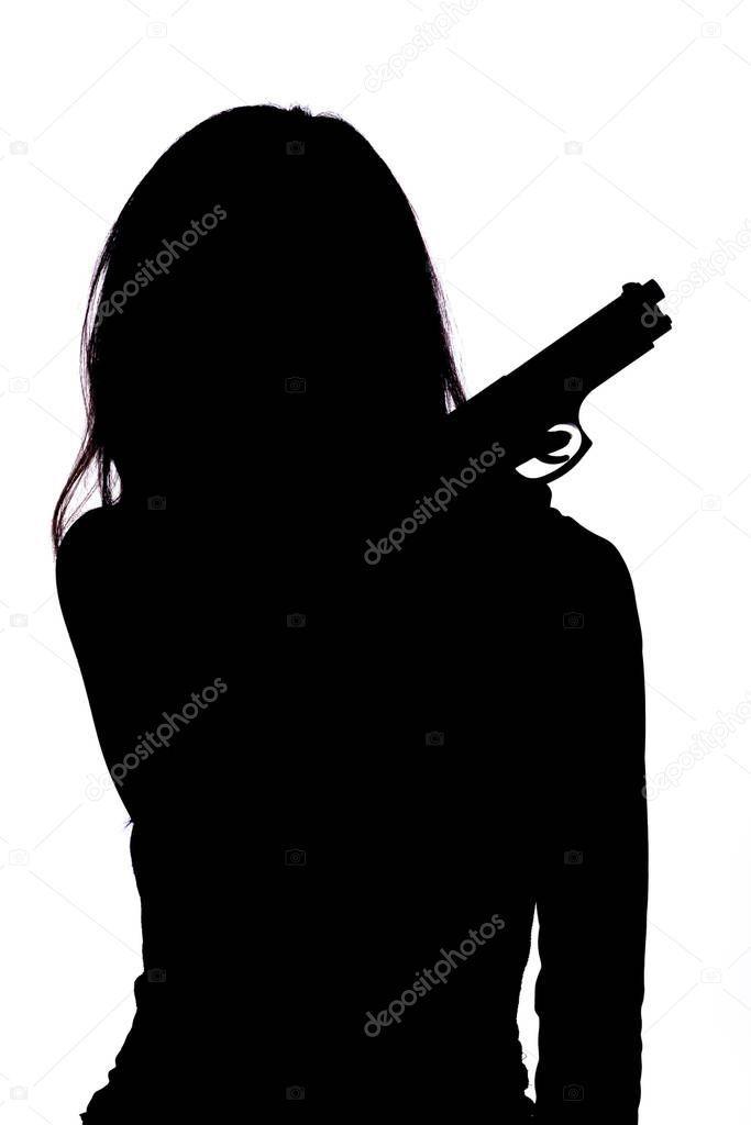 Silhouette Woman Pistol White Background  Stock Photo