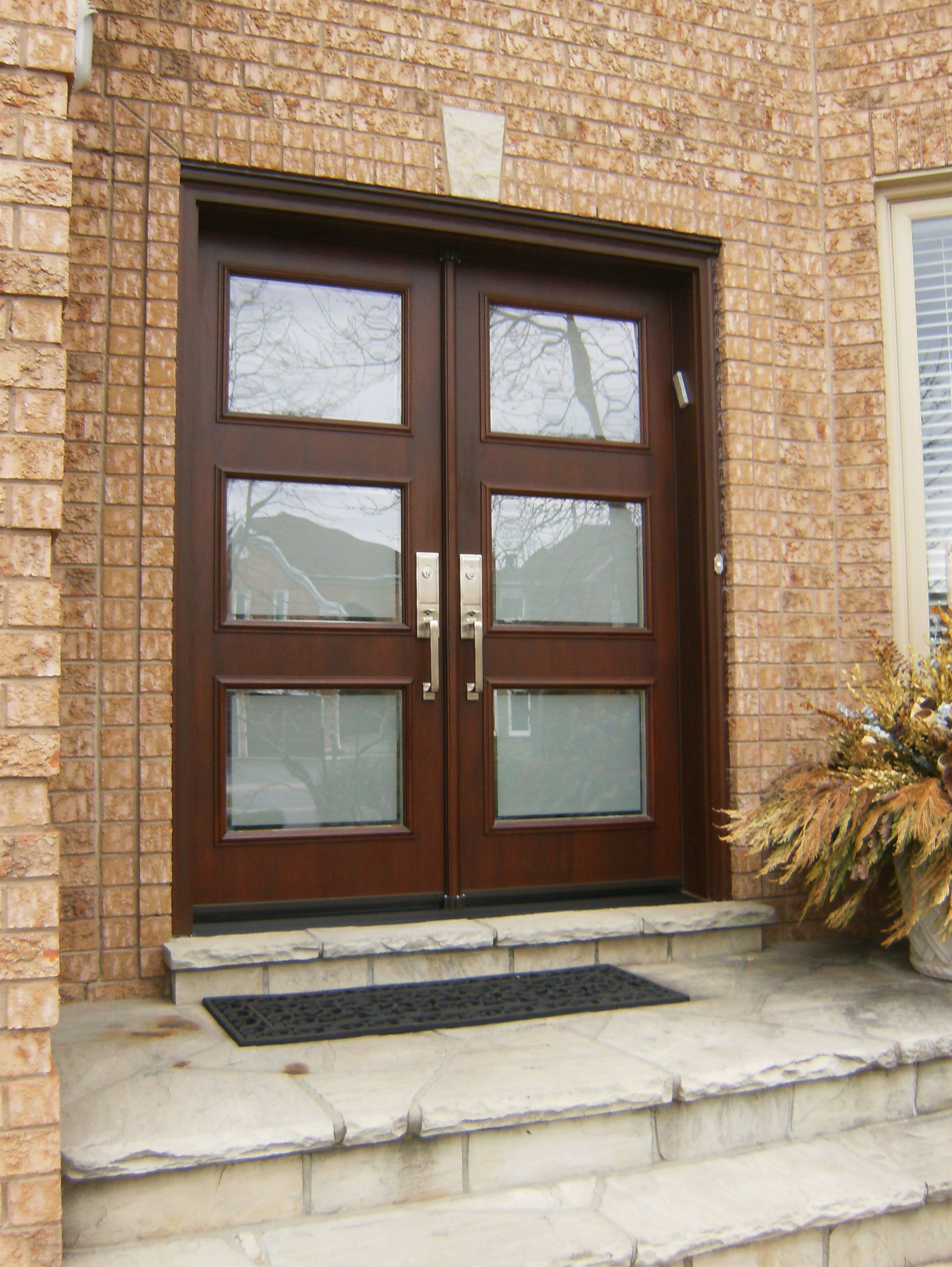 Single door and two sidelights replacement with custom modern double door in fiberglass www for Fiberglass double doors exterior