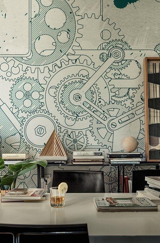 Steampunk wallpaper design nel 2019 arredamento for Appartamento design industriale
