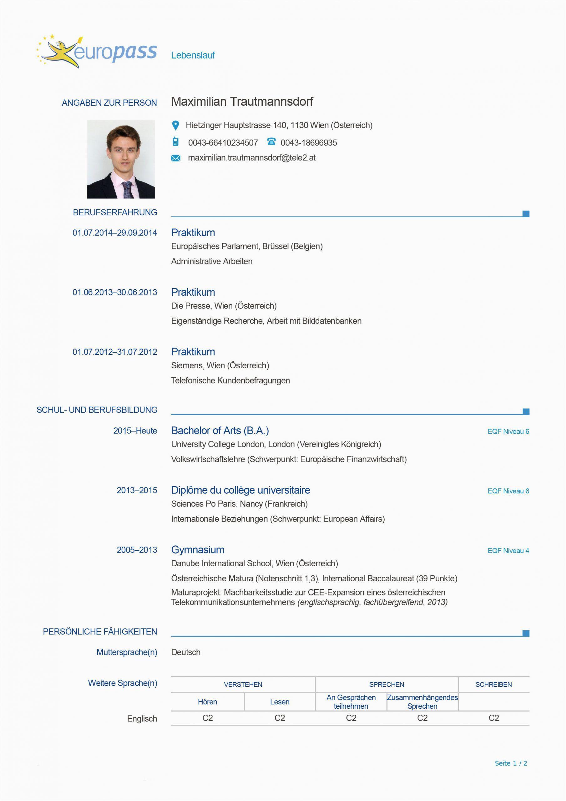 Lebenslauf Deutsch Europass in 2020 Lebenslauf