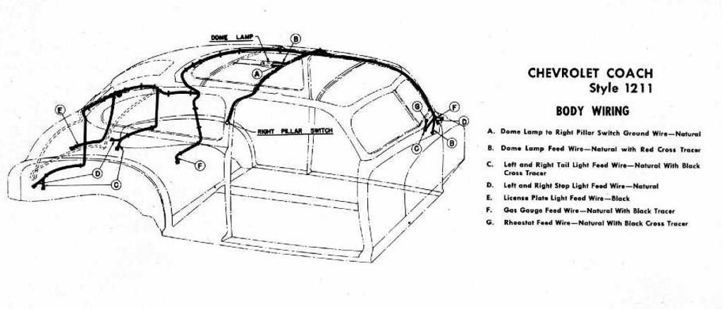 body wiring diagram for 1946 47 chevrolet coach style 1211