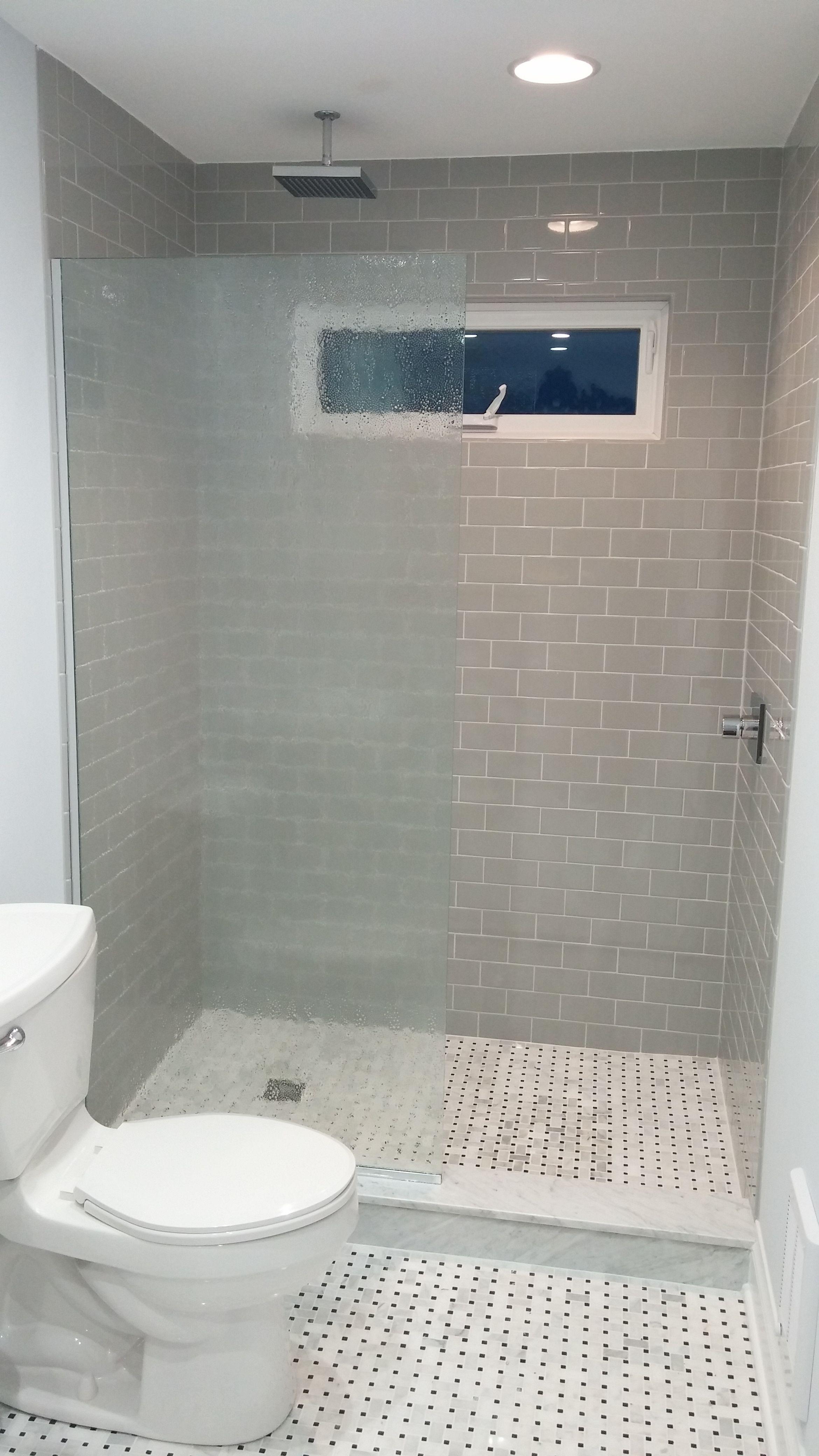 Custom Shower Glass Panel / Splash Guard featuring 3/8\