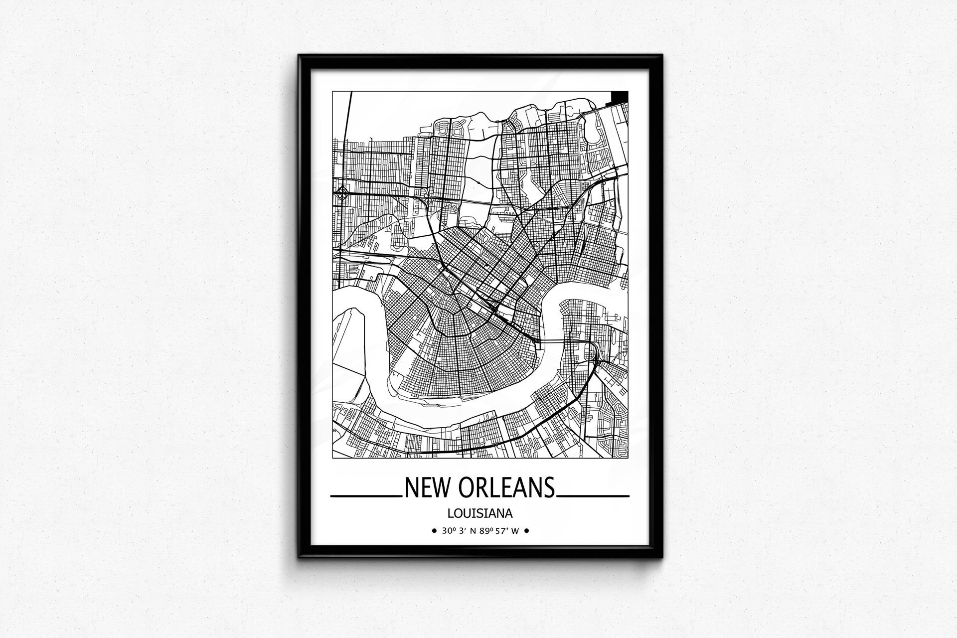 New Orleans City Map Print New Orleans Wall Art Prints Travel
