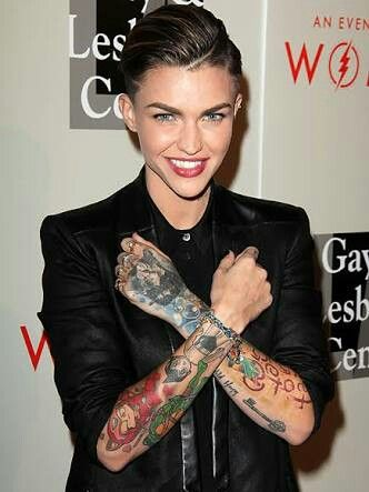 Ruby Rose Tats + Outfit + Hairstyle