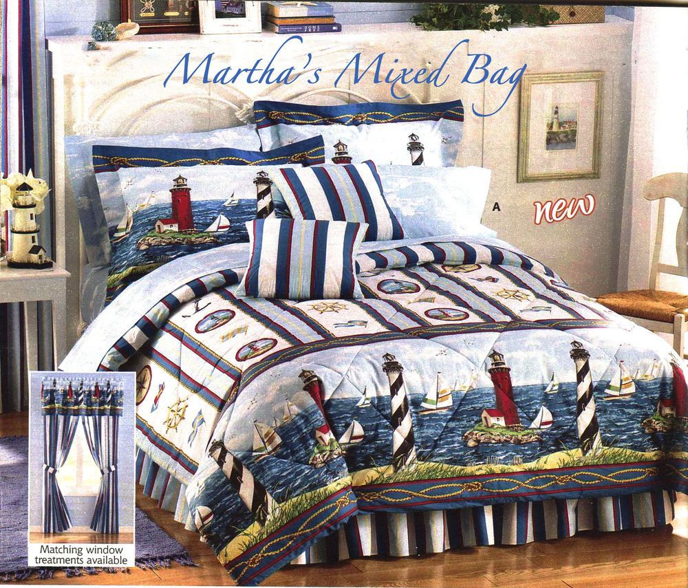 nautical lighthouses sailboats blue white comforter set drapes