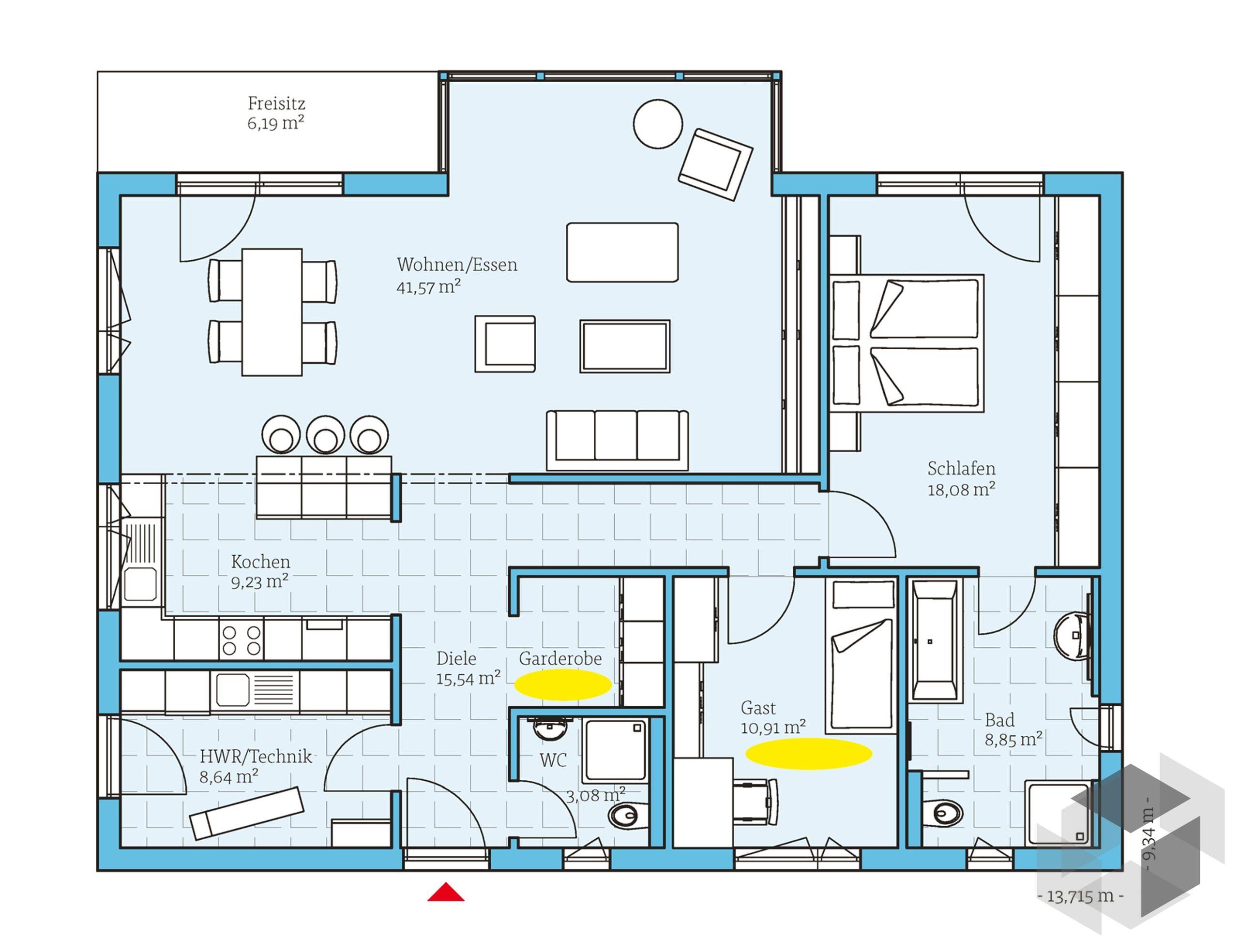 Grundriss zum 'Bungalow 122' von Hanse Haus Alle Infos