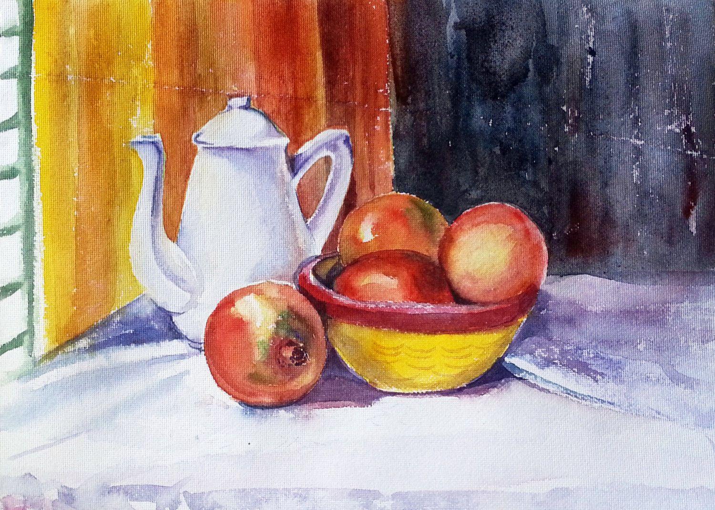 Pomegranate watercolors original art still life art still life