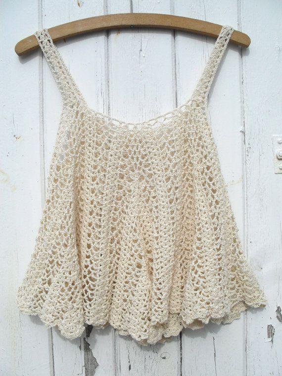 Vintage 70s Crochet Tent Waterfall scallop Vest tank strap top t ...