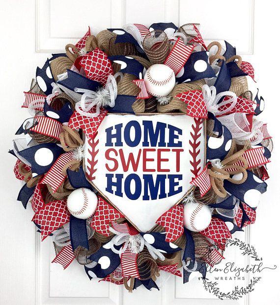 Photo of Baseball Wreath, Baseball Decor, Baseball Gifts, Summer Wreath, Sports Wreaths, Home Sweet Home Wreath, Summer Mesh Wreaths, Front Door Mesh