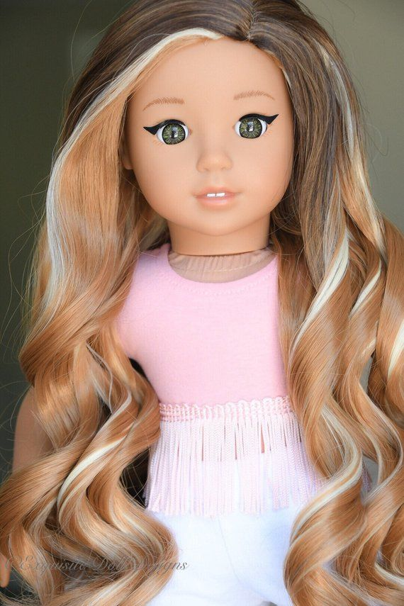 Custom Doll Wig for 18 American Girl Doll - Heat Safe - Tangle Resistant - 11 Wig cap fits all 18 dolls Exquisite Doll Designs #americangirldollcrafts