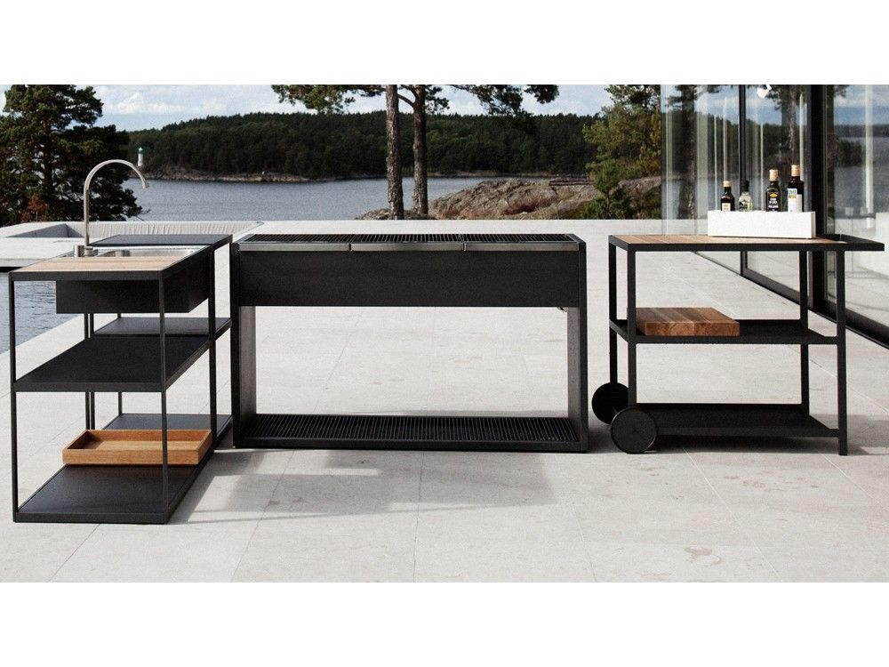 Roshults Garden Kitchen Outdoor Trolley By Broberg Ridderstrale Modular Outdoor Kitchens Outdoor Kitchen Built In Braai