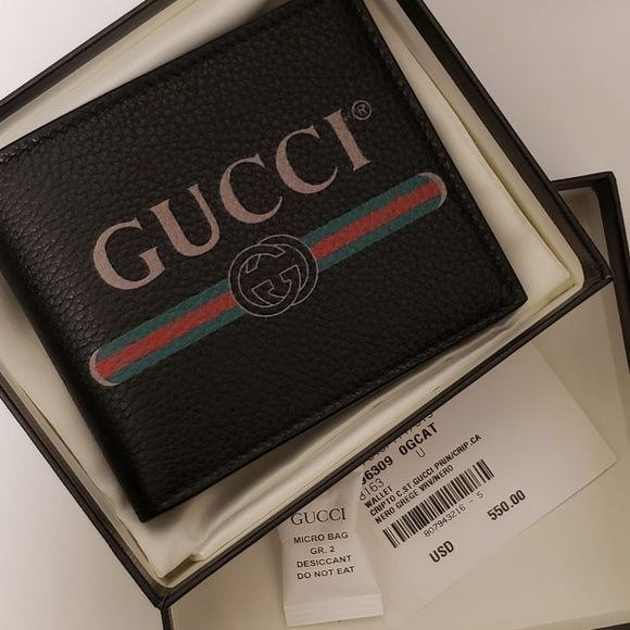 cbae8d23355cd Gucci print NEW wallet Authentic Gucci men s bifold wallet Current season  Style number 496309 OGCAT 8163 Black pebbled leather with gucci print  inspired by ...