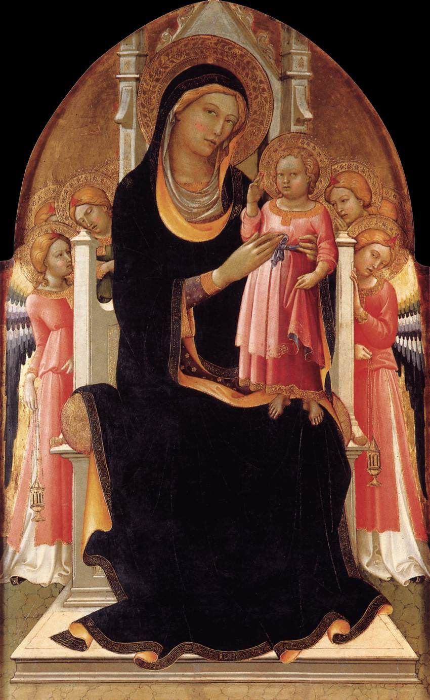LORENZO Monaco  Virgin and Child Enthroned with Six Angels  1415-20
