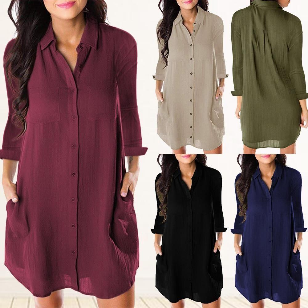 Women Loose Solid Long Sleeve Dresses Shirt Long Sleeve Shirt Dress Womens Fashion Dresses Casual Long Sleeve Blouse Tops [ 1000 x 1000 Pixel ]