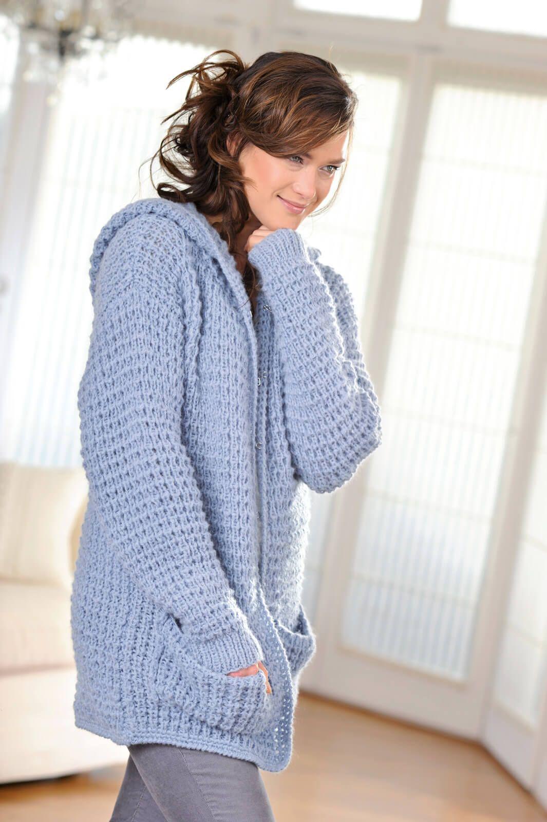 gem tliche kapuzenjacke mit taschen stricken ideen. Black Bedroom Furniture Sets. Home Design Ideas