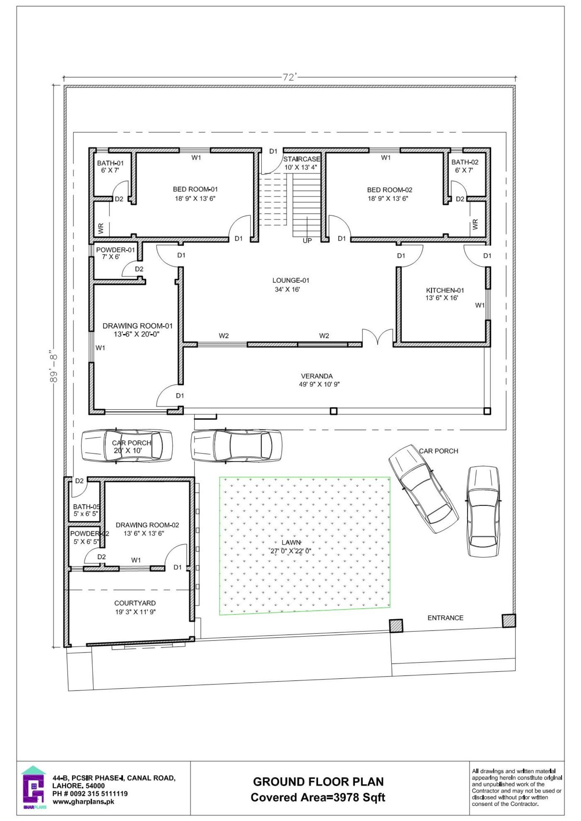 72 X 90 House Plan Design 6 500 Square Feet Ground Floor Plan Square House Plans House Plans Floor Plan Layout