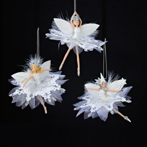 Pack of 6 White Ballerina Snowflake Fairy Christmas Ornaments 5 ...