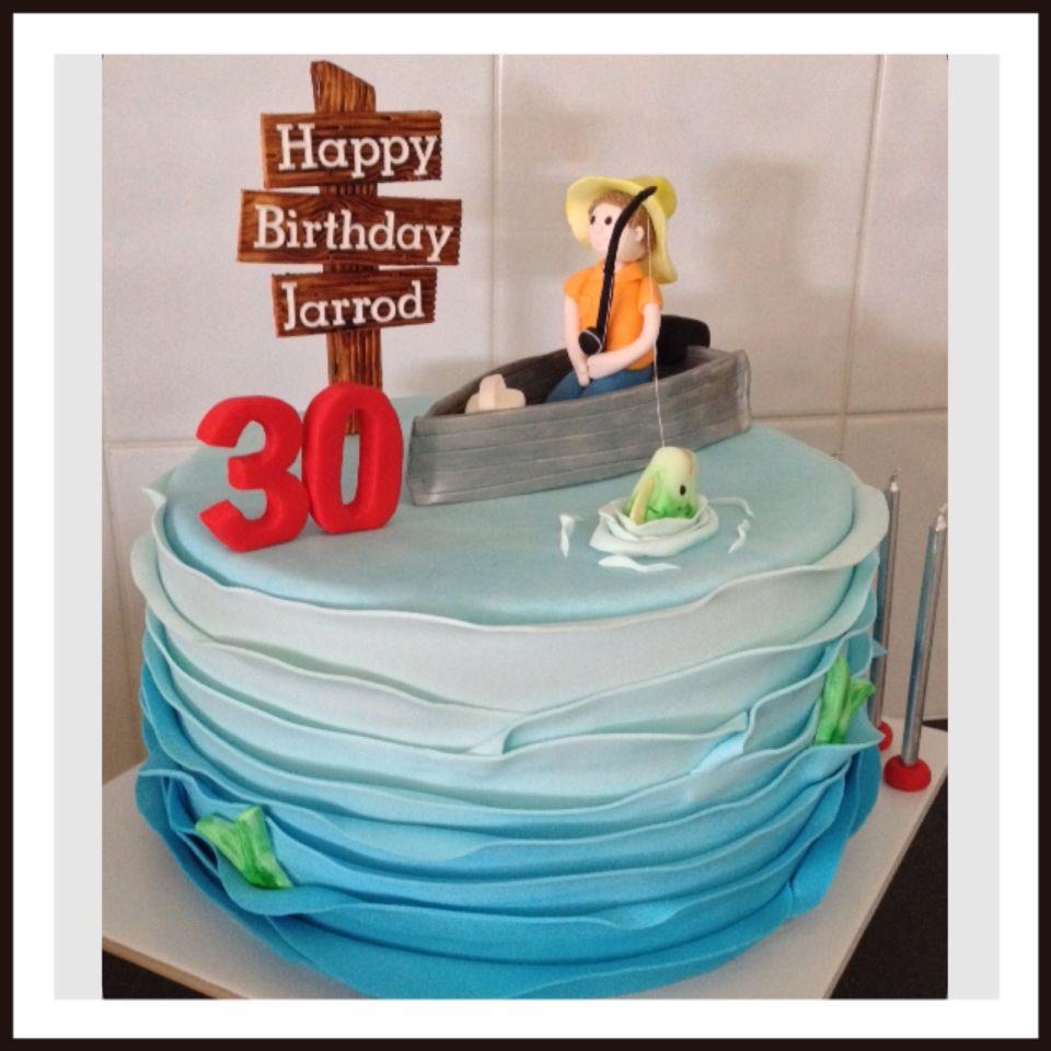 Fondant Fisherman Fishing Theme 30th Birthday Cake Fondant cakes